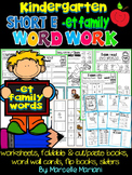 Word Family Word Work- Short E- ET Word Family Literacy Packet