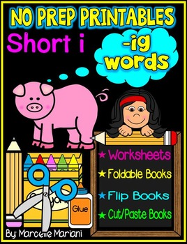 Word Family Word Work- Short I- IG Word Family NO PREP Literacy Packet