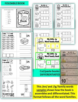 Word Family Word Work- Short I- IN Word Family NO PREP Literacy Packet