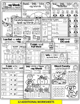 Word Family Word Work- Short O- OG Word Family NO PREP Literacy Packet
