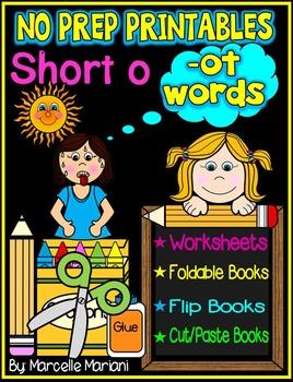 Word Family Word Work- Short O- OT Word Family NO PREP Literacy Packet