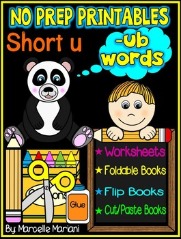 Word Family Word Work- Short U- UB Word Family NO PREP Lit