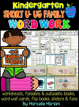 Word Family Word Work- Short U- UG Word Family Literacy Packet
