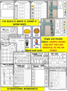 Word Family Word Work- Short U- UN Word Family Literacy Packet