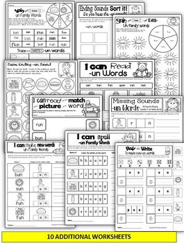 Word Family Word Work- Short U- UN Word Family NO PREP Literacy Packet
