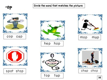 Word Family Word Work -ap, -ip, -op
