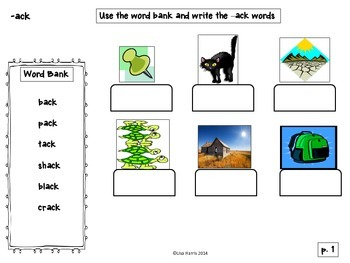 Word Family Word Work for words ending in -ck