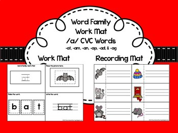 Word Family Work Mat for (at, am, an, ad, ag, & ad)
