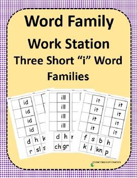 Word Family Work Stations - BUNDLE - Three Short -i Word F