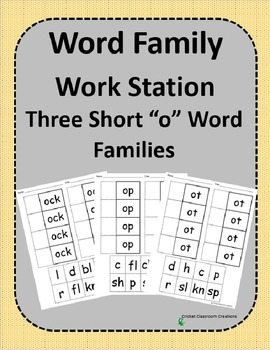 Word Family Work Stations - BUNDLE - Three Short -o Word Families In One