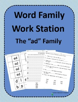 Word Family Work Stations and Independent Practice: The -ad Family