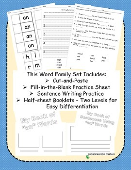 Word Family Work Stations and Independent Practice: The -an Family