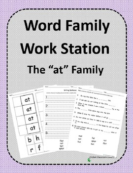 Word Family Work Stations and Independent Practice: The -at Family