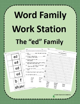 Word Family Work Stations and Independent Practice: The -ed Family