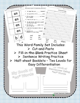 Word Family Work Stations and Independent Practice: The -en Family