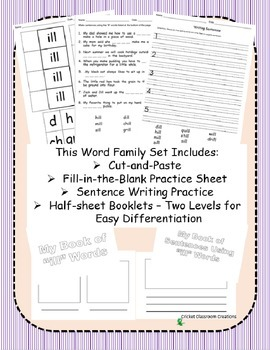 Word Family Work Stations and Independent Practice: The -ill Family