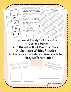 Word Family Work Stations and Independent Practice: The -it Family