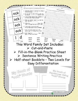 Word Family Work Stations and Independent Practice: The -ock Family
