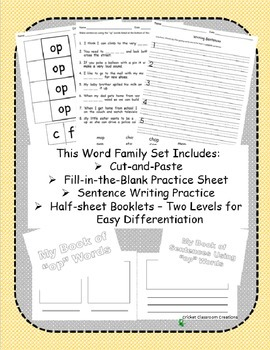 Word Family Work Stations and Independent Practice: The -op Family