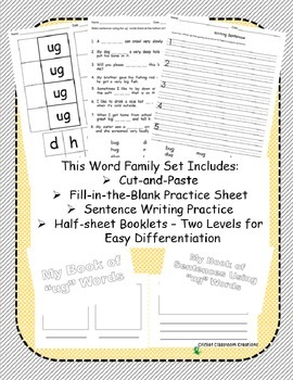 Word Family Work Stations and Independent Practice: The -ug Word Family