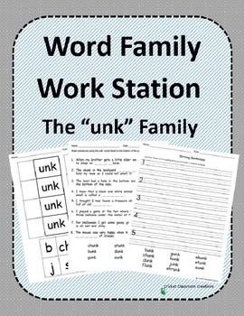 Word Family Work Stations and Independent Practice: The -unk Family