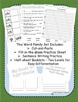 """Word Family Work Stations: """"ch"""" Words"""
