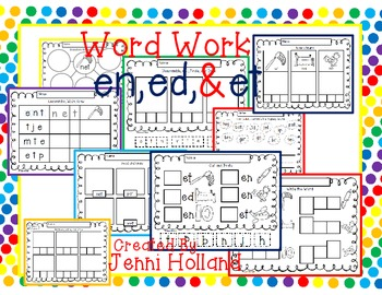 Word Family Work {en, ed, & et}