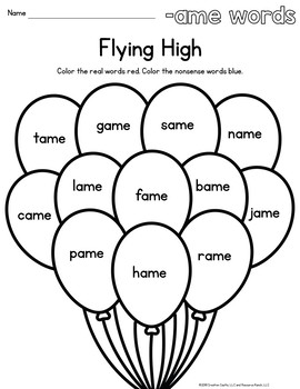 Word Family Worksheets Balloons