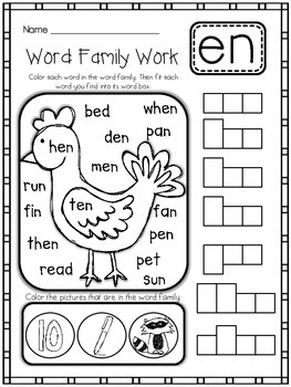 Word Family/Rhyming Worksheets {43 Word Families}