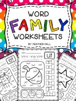 Word Family/Rhyming Worksheets {43 Word Families}