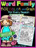 Word Family Worksheets- Roll, Color & Graph- For Every Season (CCSS)
