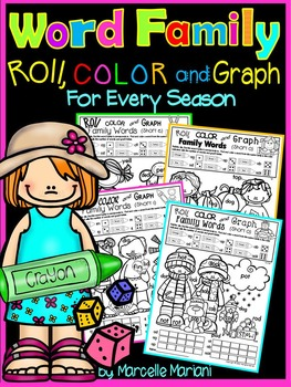 Word Family Worksheets- Roll, Color & Graph- For Every Sea