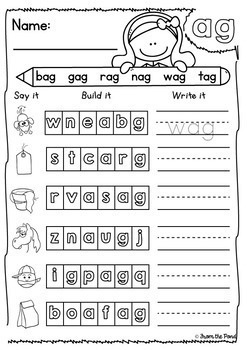 Word Family Worksheets - Say it, Build it, Write it!