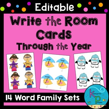 EDITABLE Write the Room Cards - Word Families Through the Year
