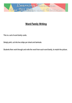 Word Family Writing Cards