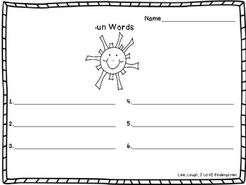 Word Family Writing Sheets