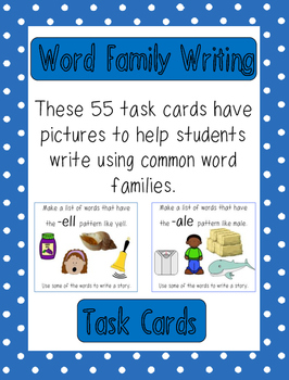 Word Family Writing Task Cards