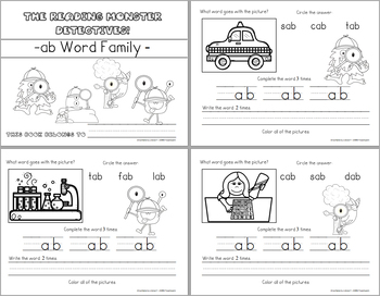 Word Family -ab Teaching Video and Workbook (Monster Detectives)