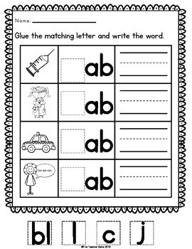 Word Family 'ab' Word Work