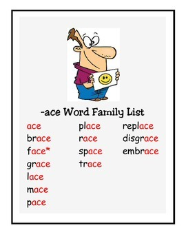 Word Family -ace Study