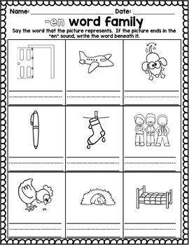 Word Family activities- en