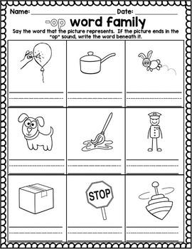 Word Family activities- op