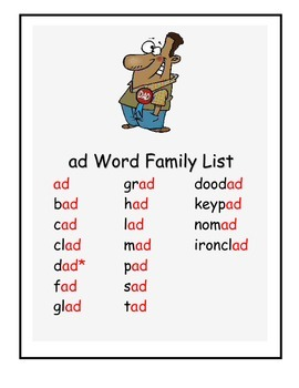 Word Family -ad Study