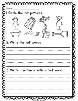 Word Family 'ad' (Word Work Activities)