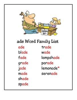 Word Family -ade Study