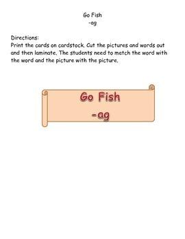 Word Family -ag Go Fish