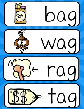 Word Family -ag (Poster and Flash Cards)