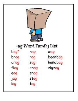 Word Family -ag Study