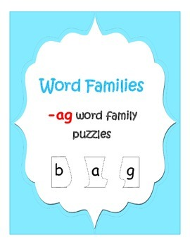 """Word Family """"-ag"""" puzzles"""