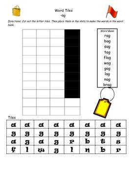 Word Family -ag tiles